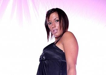Morgan in a black dress